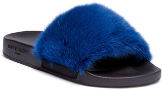 Givenchy Electric Blue mink slide sandals