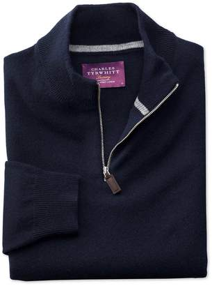 Charles Tyrwhitt Navy Cashmere Zip Neck Jumper Size Large
