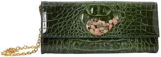Etro Green Leather Clutch Bag