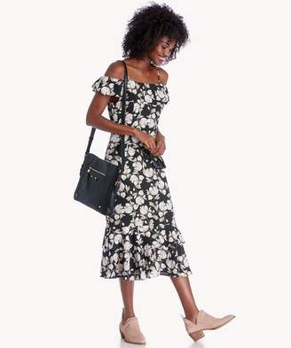 Sole Society Floral Printed Cold Shoulder Dress With Tiered Hem