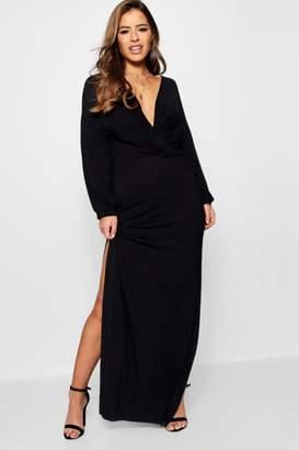 boohoo Petite Volume Sleeve Split Leg Maxi Dress