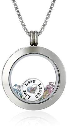 "Swarovski Charmed Lockets Crystal""Live Laugh Love"" Charm Round Locket Necklace"
