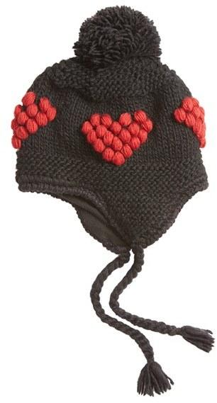 Women's Nirvanna Designs Bobble Stitch Heart Earflap Hat - Black