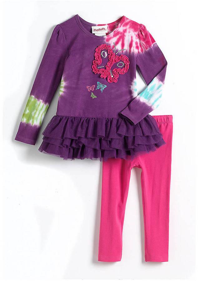 Flapdoodles Girls 2-6x Two-Piece Tie-Dye Dress & Leggings Set