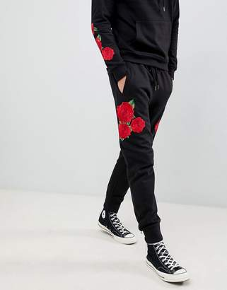 Brave Soul Skinny Fit Drop Crotch Rose Embroidered Joggers