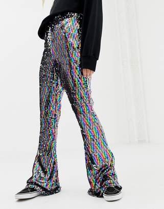 Daisy Street flared pants in rainbow sequin