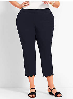 Talbots Womans Exclusive Hampshire Scallop Crop Pant - Curvy Fit