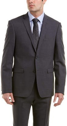 Ike Behar 2Pc Omega Slim Fit Wool-Blend Suit With Flat Pant