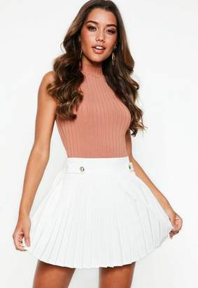 Missguided Petite White Pleated Military Button Mini Skirt