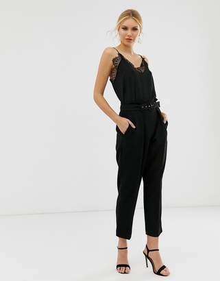 Closet London paper bag waist pant with belt detail in black