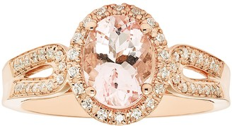 Boston Bay Diamonds 14k Rose Gold Morganite & 1/5 Carat T.W. Diamond Oval Ring