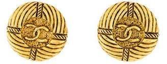 Chanel CC Button Clip-On Earrings