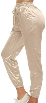 Cruiize Women's Stretchy Metallic Drawstring High Waist Jogger Pants