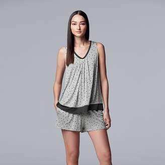 Vera Wang Women's Simply Vera Polka Dot Tank & Boxer Shorts Pajama Set