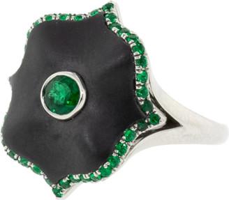 Bayco Emerald And Black Ceramic Lotus Ring