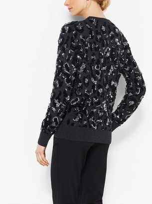 Michael Kors Leopard Embroidered Cashmere Pullover