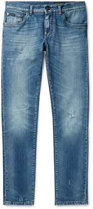 Dolce & Gabbana Skinny-Fit Distressed Denim Jeans - Men - Blue