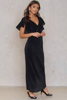 Na Kd Party V-neck Glittery Ankle Dress Black