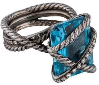David Yurman Blue Topaz & Diamond Cable Wrap Ring