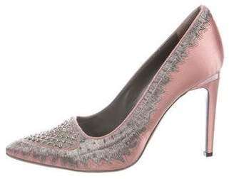 Alberta Ferretti Crystal-Embellished Satin Pumps w/ Tags
