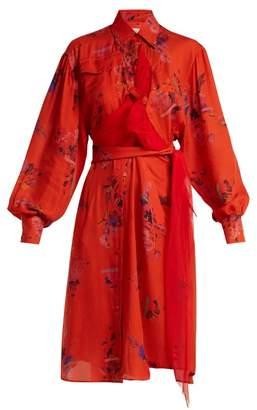 Preen by Thornton Bregazzi Susanna Floral Print Silk Shirtdress - Womens - Red Multi