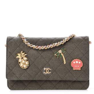 Chanel Coco Cuba Charms Wallet On Chain Quilted Diamond Khaki