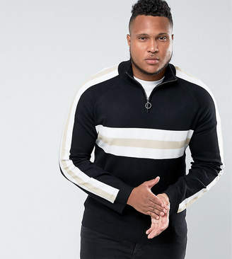 Bellfield sweater with half zip in retro color block