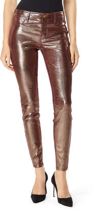 L8001 Mid-Rise Super-Skinny Leather Legging In Foiled Leather Oxblood
