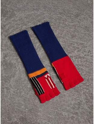 Burberry Cashmere Wool Blend Fingerless Patchwork Gloves