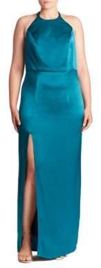 ABS, Plus Size Plus Open-Back Halter Gown