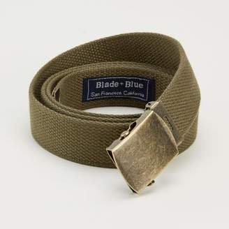 Blade + Blue Olive Green Cotton Web Military Belt