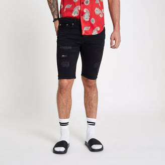 River Island Black wash skinny ripped denim shorts