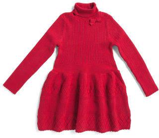 Little Girls Textured Turtleneck Sweater Dress