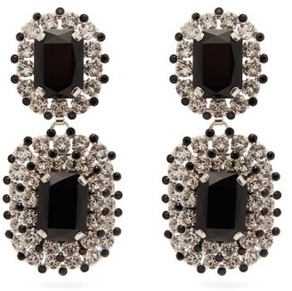 Dolce & Gabbana Crystal Drop Clip Earrings - Womens - Black