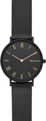 Skagen Slim Hald Leather Strap Watch, 34mm