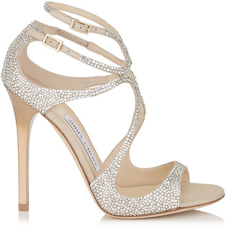 8147ea55ceb Jimmy Choo LANCE Nude Suede Sandals with Crystals