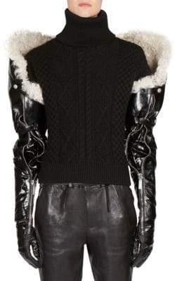Saint Laurent Long Shearling& Leather Gloves