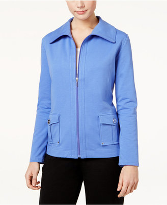 Karen Scott Zippered Wing-Collar Active Jacket, Only at Macy's $49.50 thestylecure.com