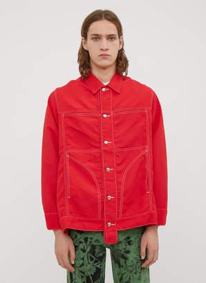 Eckhaus Latta Nylon Denim Jacket Shirt in Red