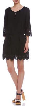 Comptoir des Cotonniers レース ベルト&インナー付 スカラップ 七分袖ドレス ブラック 36