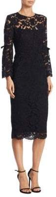 Lela Rose Floral Lace Bell-Sleeve Dress