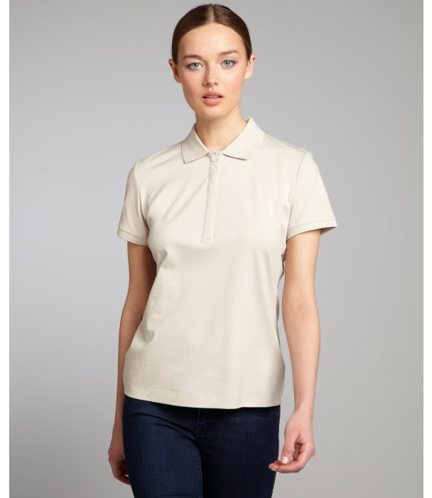 Moncler beige stretch cotton pique short sleeve polo