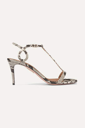 Aquazzura Almost Bare 75 Watersnake Sandals - Snake print