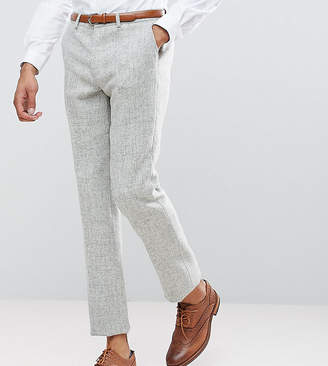 Asos Tall Slim Suit Pants In 100% Wool Harris Tweed Herringbone In Light Grey