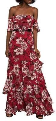 BCBGMAXAZRIA Off-The-Shoulder Festive Floral Maxi Dress