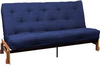 LOFT Comfort Style All Cotton 8-inch All Cotton Filled Futon Mattress, Queen-size, Suede Dark Blue Mattress Color