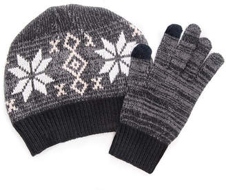 Muk Luks Womens 2piece Beanie And Glove 2-pc. Knit Cold Weather Set