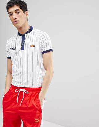 Ellesse Striped Polo In White
