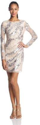 Adrianna Papell Women's Long Sleeve Short Beaded Cocktail Dress