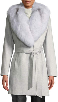 Sofia Cashmere Short Wrap Coat w/ Oversized Fur Shawl